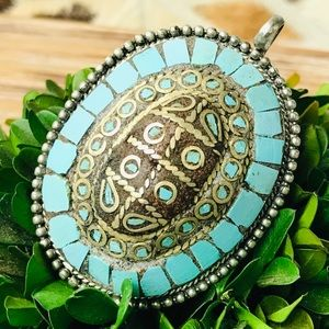 Jewelry - Vintage Silver Turquoise Turtle Shell Pendant